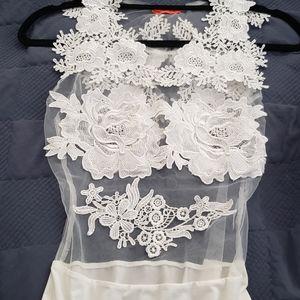 NWOT White floral mesh bodysuit